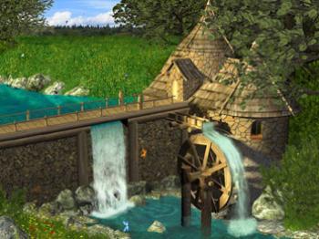 Мельница у водопада анимированная
